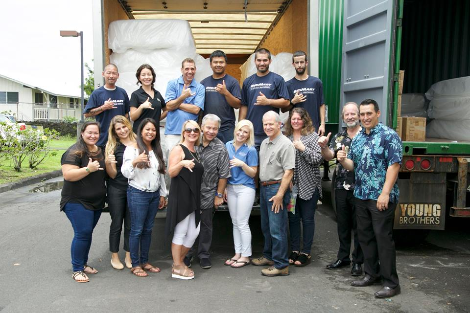 The BedMart Hilo Donation was partnered with various local nonprofits, including Hope Services, Hawaii Support Network and Hawaii Island Home for Recovery pose to